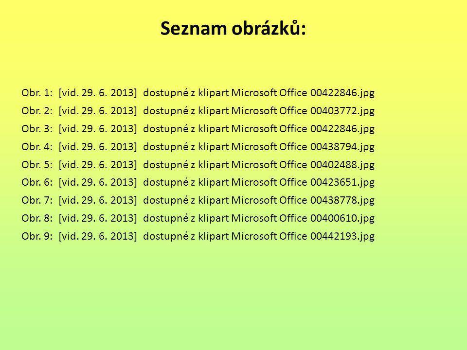 Seznam obrázků: Obr. 1: [vid. 29. 6. 2013] dostupné z klipart Microsoft Office 00422846.jpg.